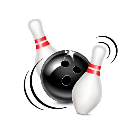 bowling ball with movement hitting pins isolated on white  Illustration
