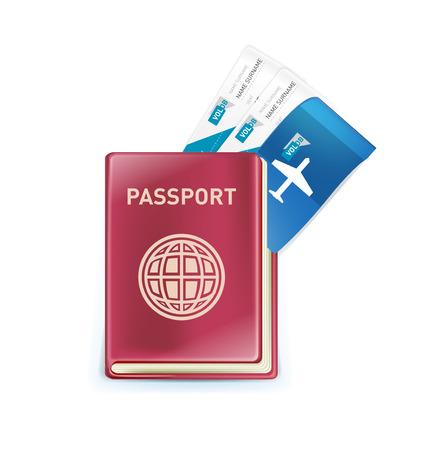 billets d avion: passeport avec billets d'avion � l'int�rieur isol� sur fond blanc