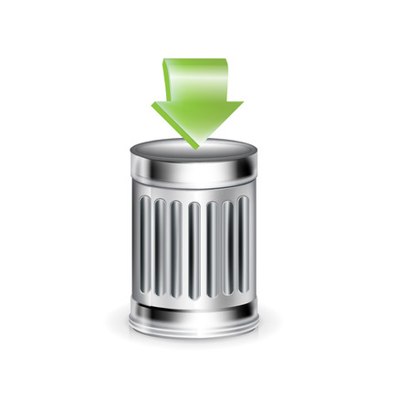 trashcan with green arrow isolated on white background Illustration