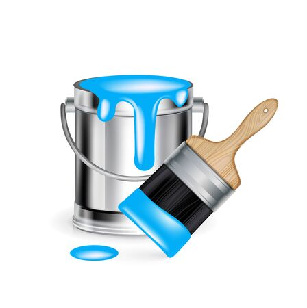 single cyan paint bucket with wide paint brush isolated