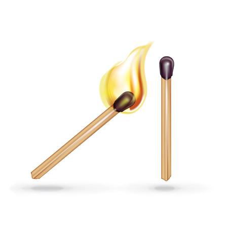 pyromania: burning match and single match isolated on white background