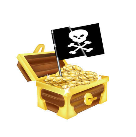 treasure chest with golden coins and pirate flag isolated on white Vector