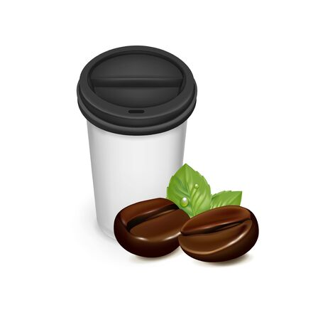 coffee beans isolated: take away cup of coffee with coffee beans isolated
