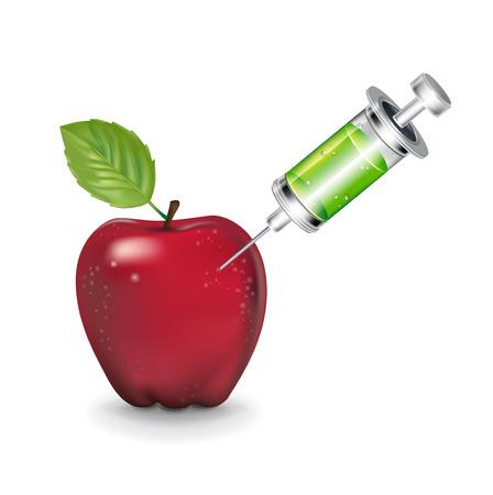 アップルと白い背景で隔離の注射器