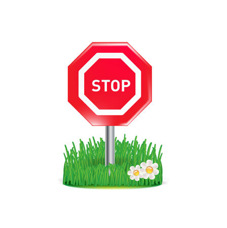 stop sign and grass isolated on white background