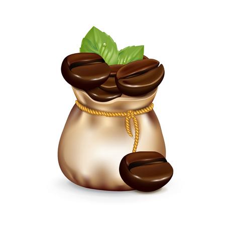 çuval bezi: çuval çuval içinde yaprakları ile kahve çekirdekleri isolated on white Çizim