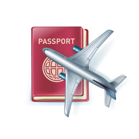 passport with airplane icon isolated on white background