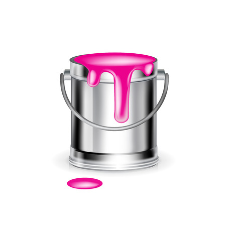 single magenta paint bucket isolated on white background Stock Vector - 30158328