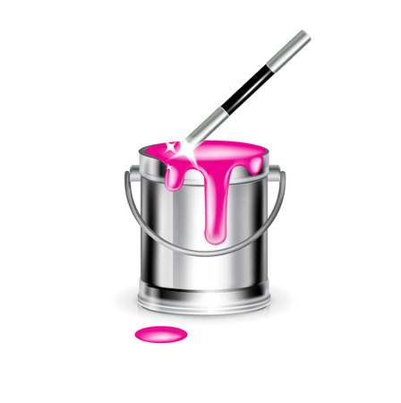 filling material: single paint bucket with magic wand isolated on white Illustration
