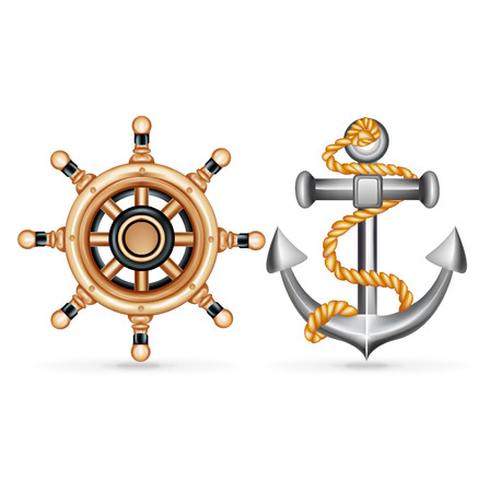 anchor with rope and ship wheel isolated on white background