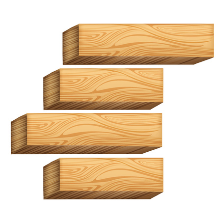 wooden blocks isolated on white background