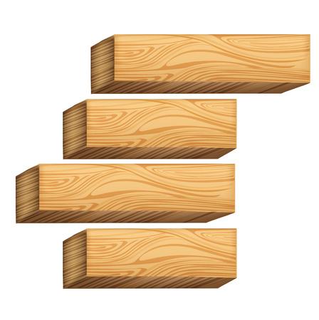 birch bark: wooden blocks isolated on white background