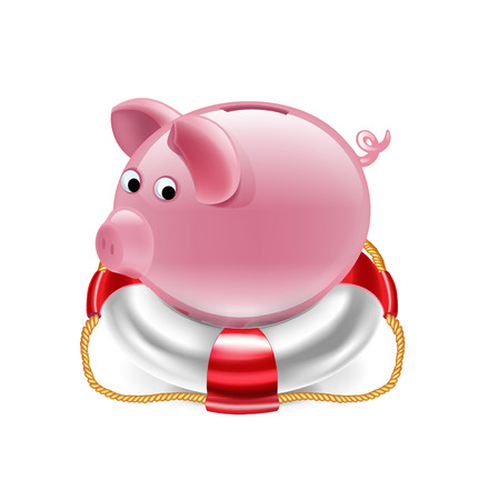 accountig: piggy bank on the lifebelt vector isolated on white Illustration