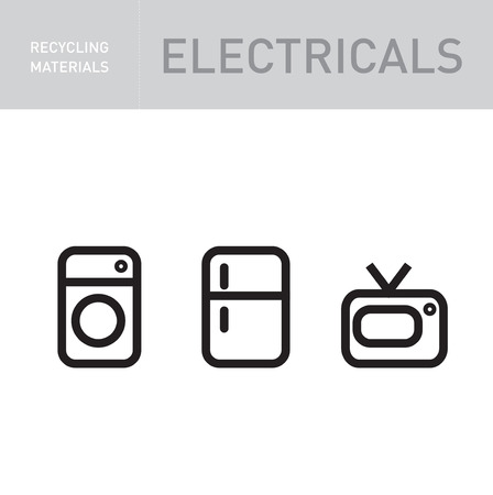 electronics recycling icons isolated on white background Vector