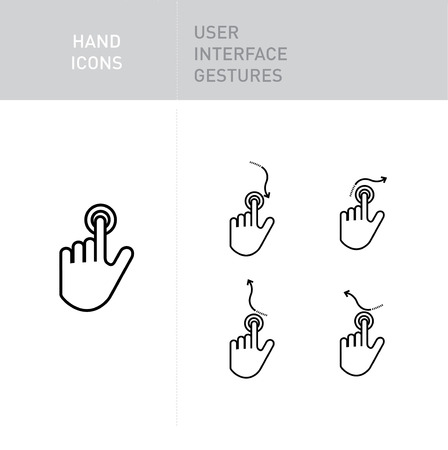 nudge: hand icons with user interface gestures on white; navigation gestures; tapping Illustration