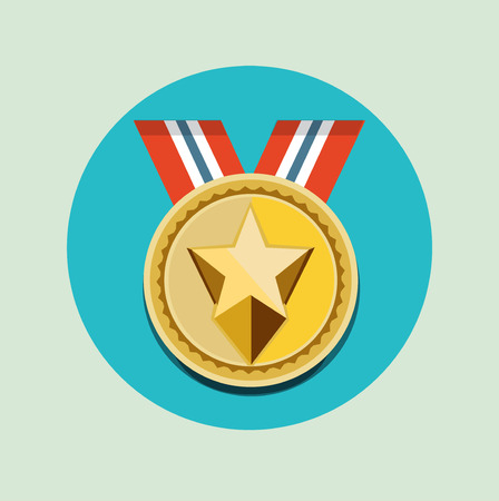 golden medal with one star icon vector flat design
