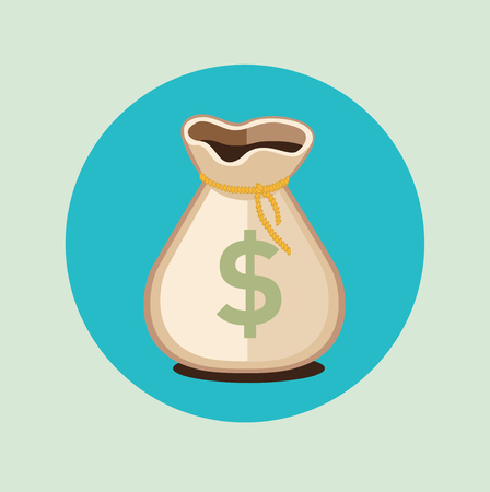 moneybag: money bag flat icon with dollar sign flat design