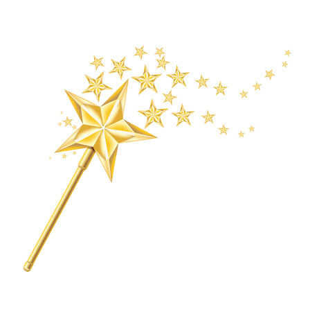 magic golden wand with traces of stars isolated on white background