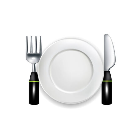 silver ware: fork and knife with plate vector illustration isolated