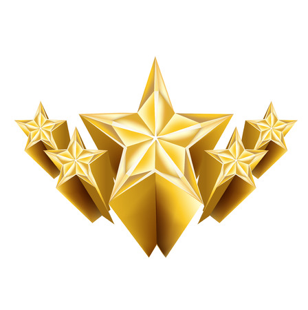 five dimensional golden stars isolated on white