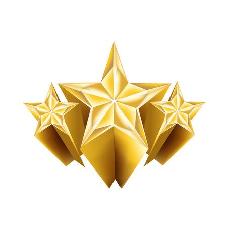 dreidimensionale goldenen Sternen auf weiß isoliert
