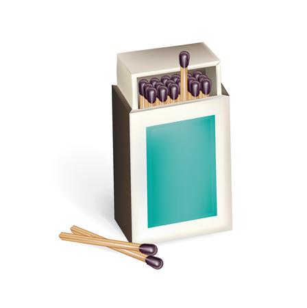 caja de cerillas: caja de cerillas abierto con partidos aislados en blanco