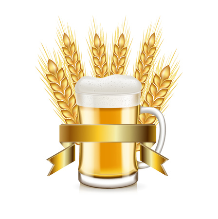 winter wheat: whole grains and beer glass with golden ribbon isolated on white