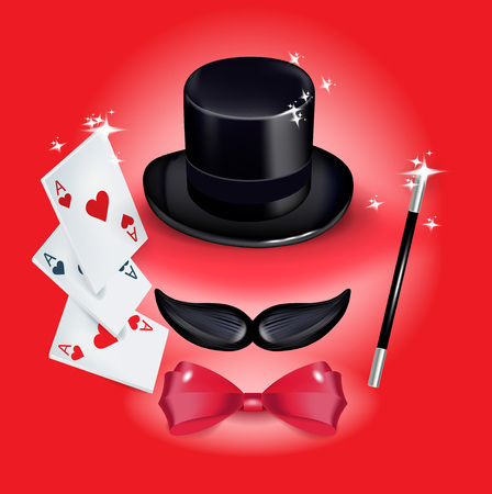 mustache with hat and with red bow tie and magic wand on red background Illustration