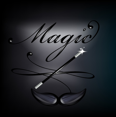 magic lettering with mustache and magic wand on black background