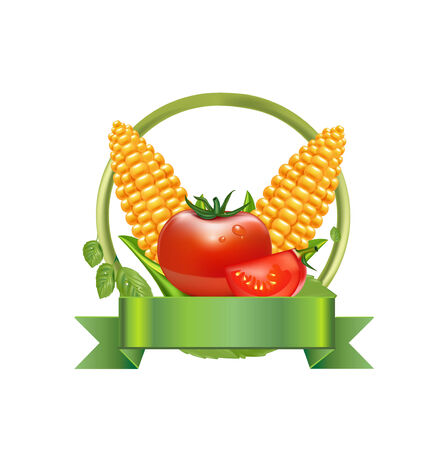 husk: corn and leaves with tomato and green ribbon isolated on white Illustration
