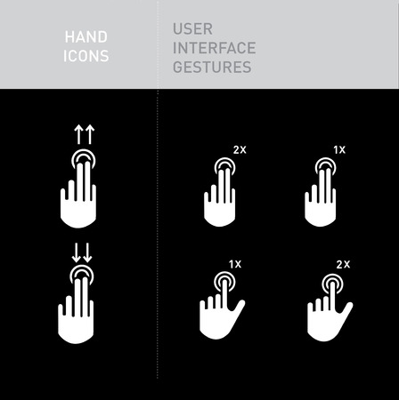 scrolling: hand icons with user interface gestures on black; scrolling up and down; tapping