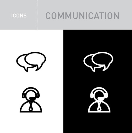 speech bubble and call center service; communication icons isolated on white and black background Vector