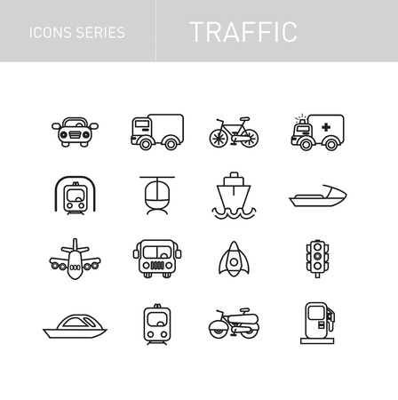 traffic icons series isolated on white background Vector