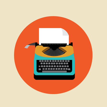 type writer: retro typewriter with page on colored background flat design