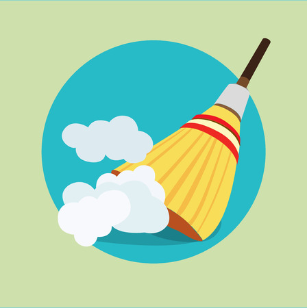 broom in dust clouds flat icon design Illustration