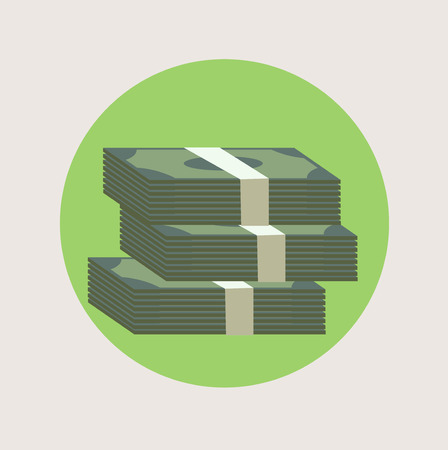 stack of paper money flat icon design