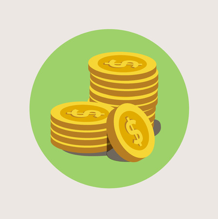 stack of golden coins flat icon design