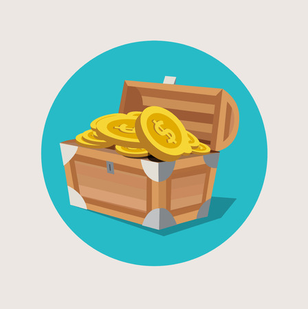 old padlock: treasure chest with golden coins flat icon design