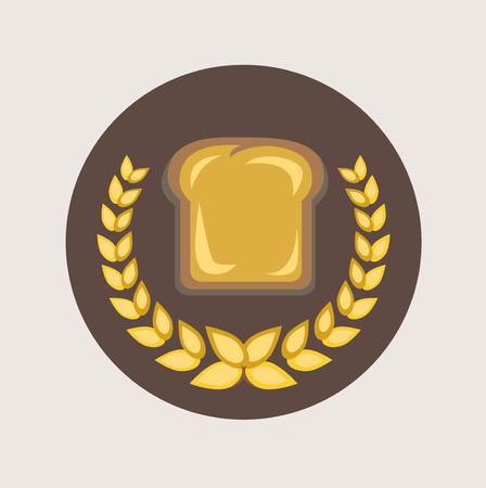 winter wheat: slice of brad and grains flat icon design Illustration