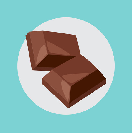 two chocolate pieces flat icon design