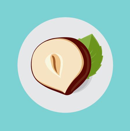 half of hazelnut with leaf flat icon design
