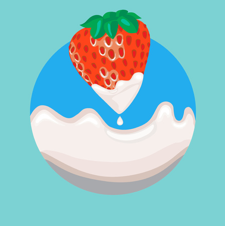 strawberry dipped in cream with splash flat icon Vector