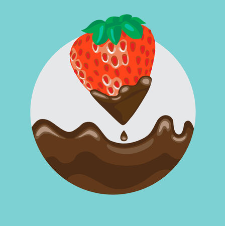 strawberry dipped in liquid chocolate with splash flat icon Vector
