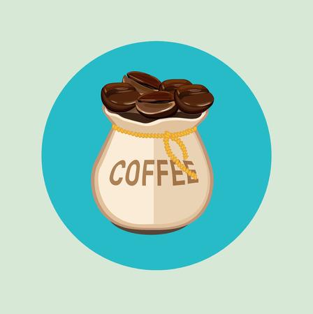 """çuval bezi: Çuval bezi çuval düz tasarım """"kahve"""" işareti ile kahve çekirdekleri"""