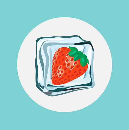 ice cube: single strawberry in ice cube flat design