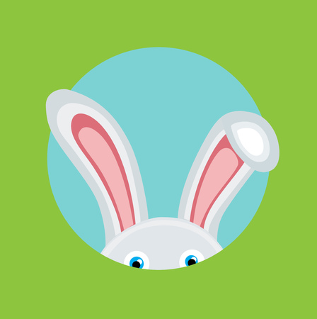 bunny ears: bunny coming out flat design vector Illustration