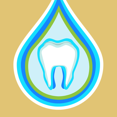shedding: tooth in protection drop flat design vector Illustration