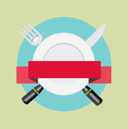teaspoon: fork and knife with plate and red ribbon banner vector illustration isolated Illustration