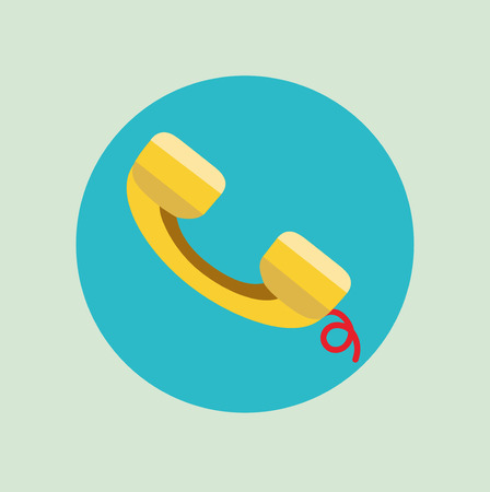 answering phone: single telephone receiver flat icon vector