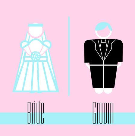 bride and groom icon on pale pink background Vector